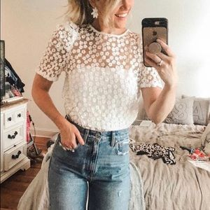 Lulus White Puff Sleeve Embroidery Floral Mesh Top
